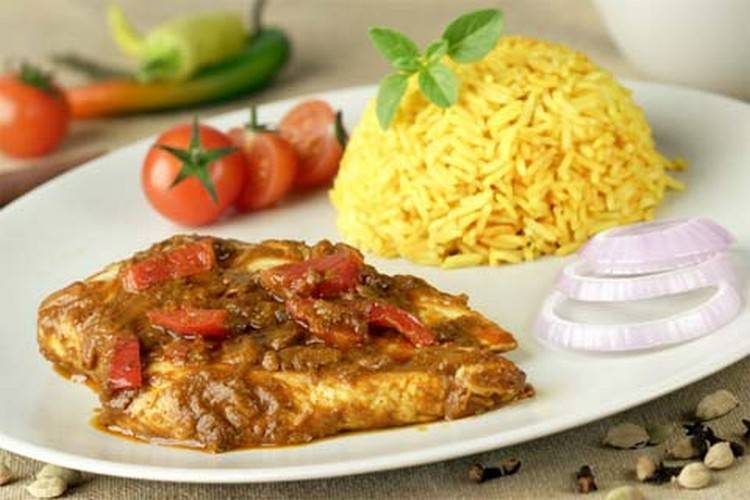 curry with rice sauce and vegetables