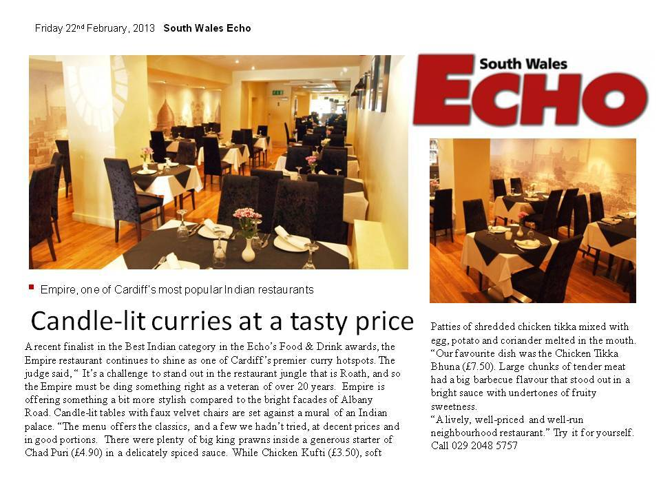 south wales eco newspaper article on empire restaurant